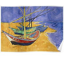 Vincent Van Gogh - Fishing Boats On The Beach Poster
