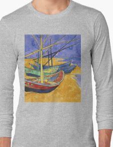 Vincent Van Gogh - Fishing Boats On The Beach Long Sleeve T-Shirt