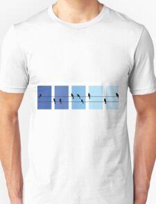 Minimalist Bird Silhouettes on Telephone Wire Unisex T-Shirt