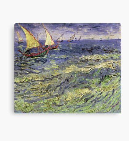 Vincent Van Gogh - Seascape At Saintes-Maries View Of Mediterranean .  Seascape. Van Gogh -Seascape Canvas Print
