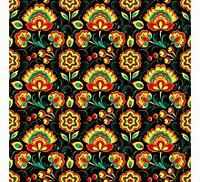 Slavic Pattern, red flowers, green plants, black background Photographic Print