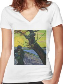 Vincent Van Gogh - The Sower . Sun Women's Fitted V-Neck T-Shirt