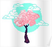 Cherry Blossom Pixel Poster
