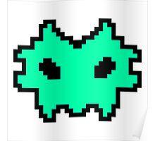 Pixel Invader : Light Blue Poster