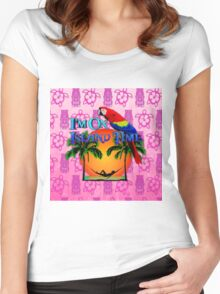 Island Time Pink Tiki Women's Fitted Scoop T-Shirt