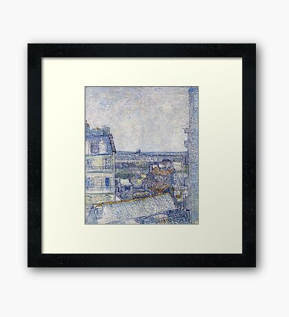 Vincent Van Gogh - View of Paris from Vincent's Room in the Rue Lepic .  Montmartre , Paris , French  Landscape Framed Print