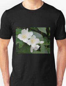 White Shrub Flowers Unisex T-Shirt