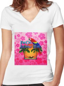 Island Time Pink Honu Women's Fitted V-Neck T-Shirt