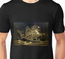 A digital painting in an old print style, of a Sailing Battleship Unisex T-Shirt