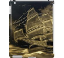 A digital painting in an old print style, of a Sailing Battleship iPad Case/Skin