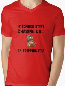 Zombies Chase Us Tripping Mens V-Neck T-Shirt