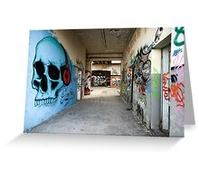 Old abandoned plant with graffity on walls, destroyed ruins Greeting Card