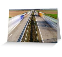 Blurred vehicles driving on motorway in France, rural landscape Greeting Card