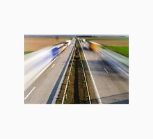 Blurred vehicles driving on motorway in France, rural landscape Classic T-Shirt