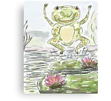 Cute Leaping Frog on Lily Pads Canvas Print