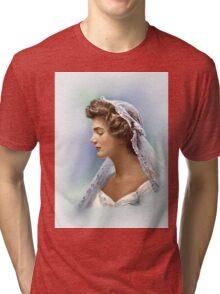 Colorized Vintage Portrait of Jacqueline Kennedy in 1953 Tri-blend T-Shirt