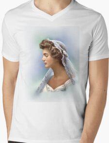 Colorized Vintage Portrait of Jacqueline Kennedy in 1953 Mens V-Neck T-Shirt