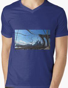 Warped Brooklyn Bridge  Mens V-Neck T-Shirt