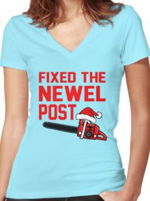 Christmas - Fixed the Newel Post Women's Fitted V-Neck T-Shirt