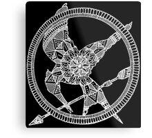 White on Black Hunger Games Mandala Metal Print