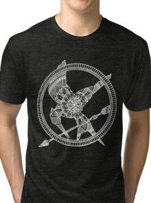 White on Black Hunger Games Mandala Tri-blend T-Shirt