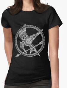 White on Black Hunger Games Mandala Womens Fitted T-Shirt