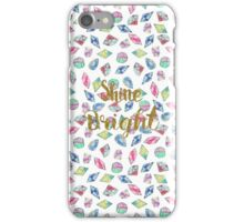 "Cute ""Shine Bright"" watercolor crystals pattern iPhone Case/Skin"