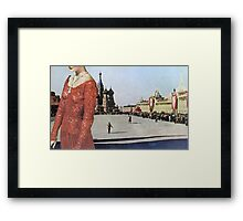 Lady in Red Square Framed Print