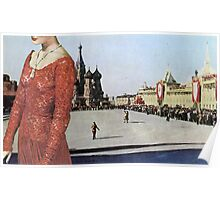 Lady in Red Square Poster