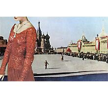 Lady in Red Square Photographic Print
