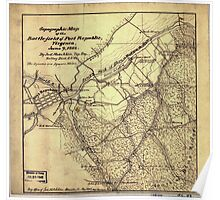 266 Topographic map of the battle-field of Port Republic Virginia June 9 1862 Poster