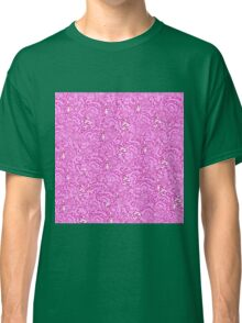 Cool cute swirls stars vibrant pink white pattern    Classic T-Shirt