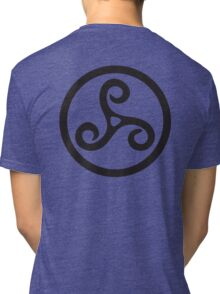 TRISKEL, triskelion or triskele, three, legs, Neolithic, Bronze Age, Iron Age, BLACK Tri-blend T-Shirt