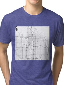 Salt Lake City Map Gray Tri-blend T-Shirt