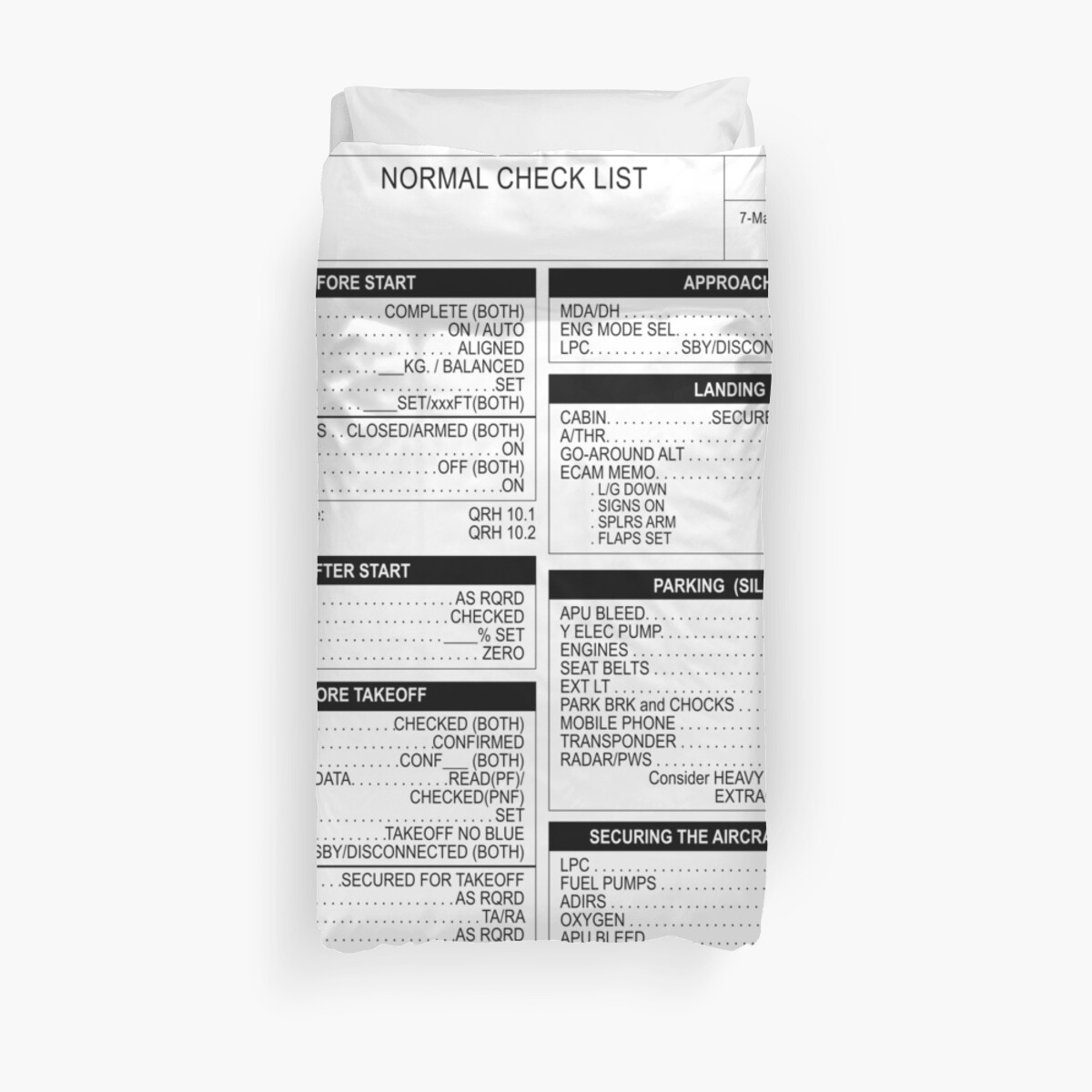 """Airbus A320 checklist"""" Duvet Covers by LimaEchoAlpha 