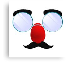 Funny Glasses with a red nose. Canvas Print
