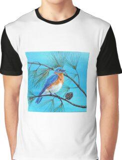Blue bird on pine tree branch Graphic T-Shirt