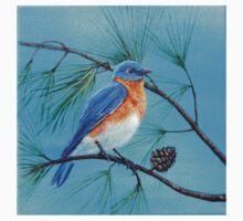 Blue bird on pine tree branch One Piece - Long Sleeve