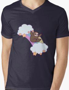 Rainbow Cloud Sloth Mens V-Neck T-Shirt