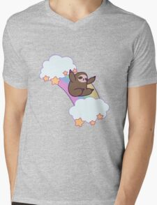 Rainbow Cloud Sloth Mens V-Neck T-Shirt