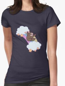 Rainbow Cloud Sloth Womens Fitted T-Shirt