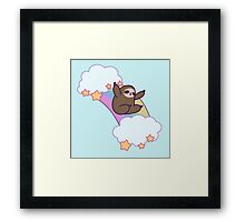 Rainbow Cloud Sloth Framed Print