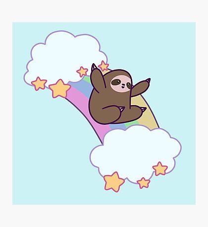 Rainbow Cloud Sloth Photographic Print