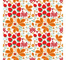 Slavic pattern, red and green #1 Photographic Print