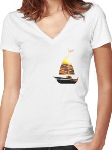 Sailboat Sunset Women's Fitted V-Neck T-Shirt