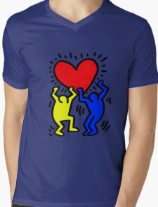KEITH HARING Mens V-Neck T-Shirt