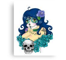 Blue Sugar Skull Sweetheart Canvas Print