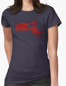 I Left My Heart in Massachusetts - Red Womens Fitted T-Shirt