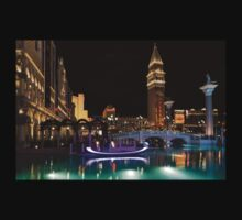 Lighting Up the Night in Neon - Colorful Canals and Gondolas at the Venetian Las Vegas Kids Tee