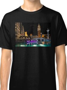 Lighting Up the Night in Neon - Colorful Canals and Gondolas at the Venetian Las Vegas Classic T-Shirt